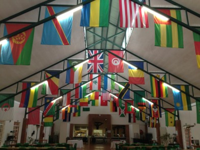 Dining hall with flags from all represented countries at ALA